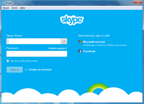 new skype facebook login How to Login Skype using Your Facebook and Outlook Account